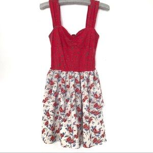 I Heart Ronson red & white floral sleeveless dress